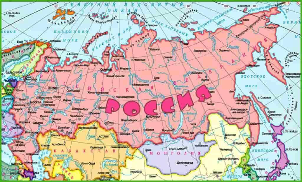 Ближайшие соседи России по карте