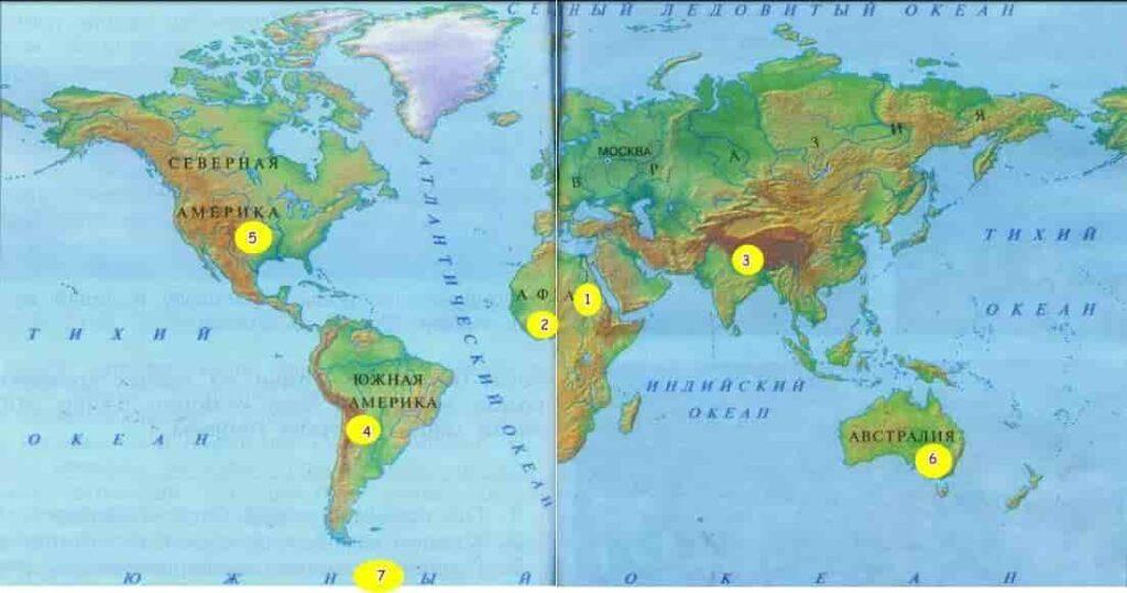 Карта мира с фишками
