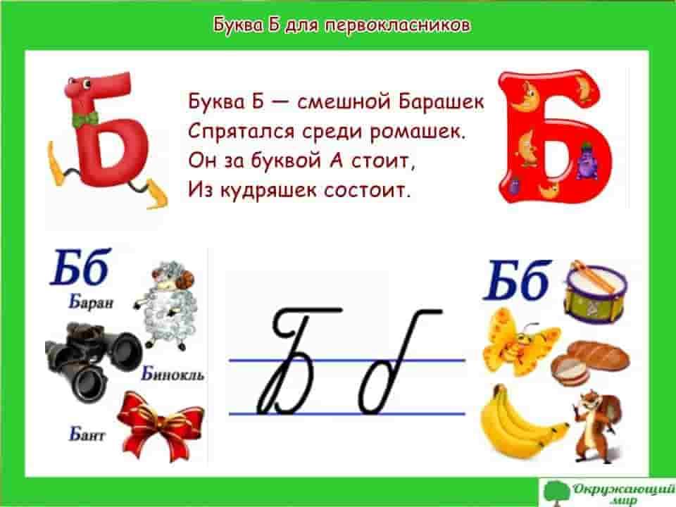 Буква Б для первоклассников