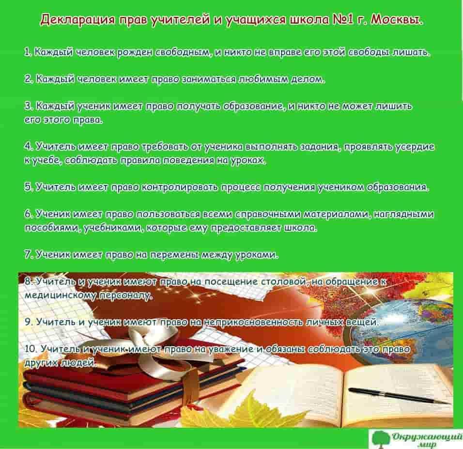 Декларации прав учителей и учащихся школы