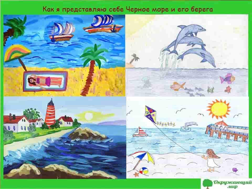 Детский рисунок Как я себе представляю Черное море и его берег