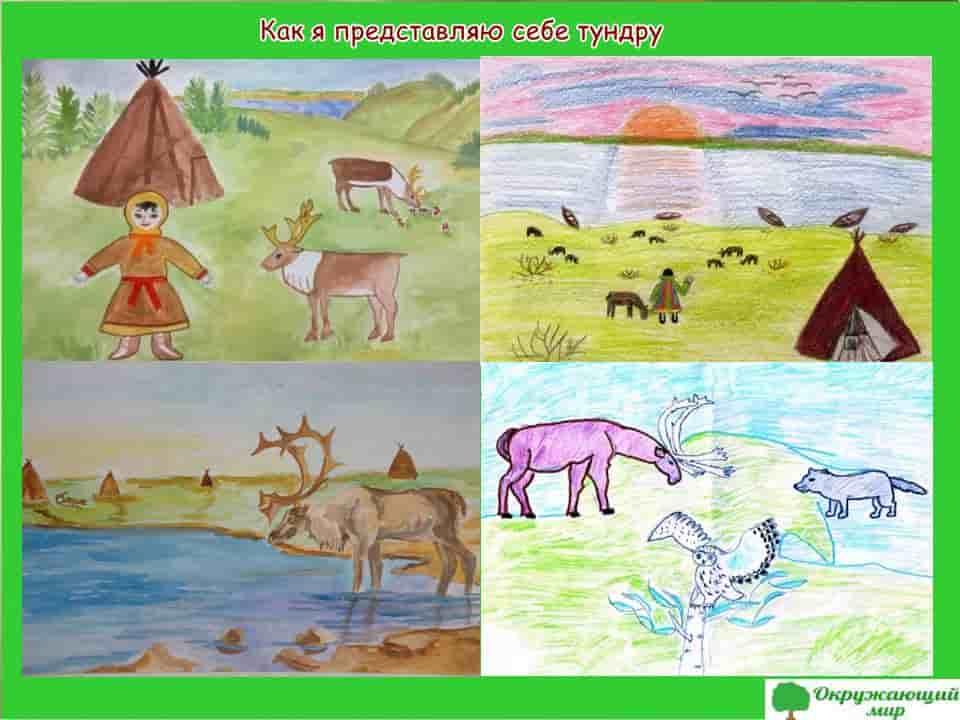 """Детский рисунок """"Как я себе представляю тундру"""""""