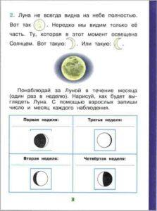 Инструкция по заполнению научного дневника для 1 класса наблюдение за Луной