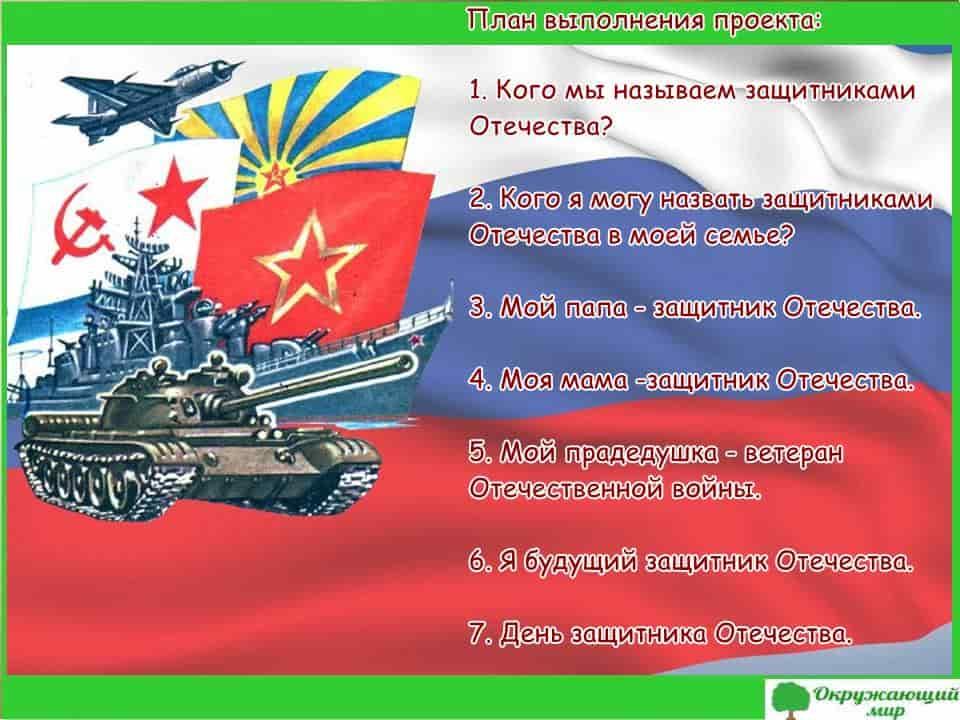 План выполнения проекта Защитники Отечества