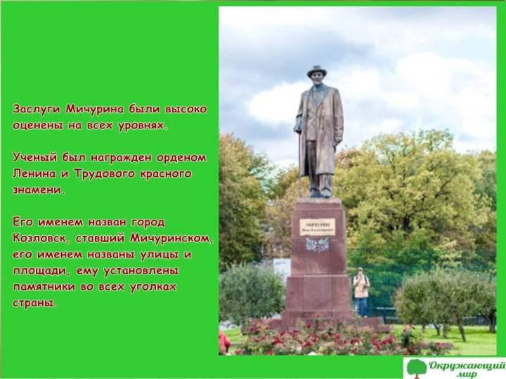 Памятник Ивана Мичурина