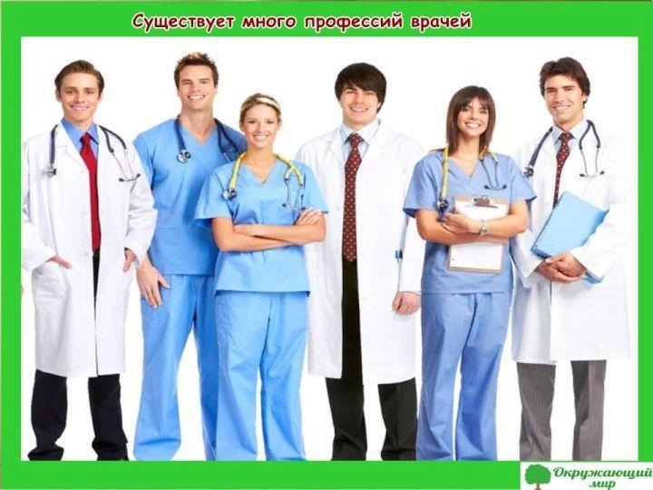 Существует много профессий врачей