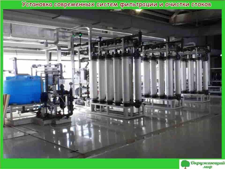 Установка современных систем фильтрации и стоков